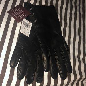 Henri Bendel Heritage Crystal Gloves, Black, NWT